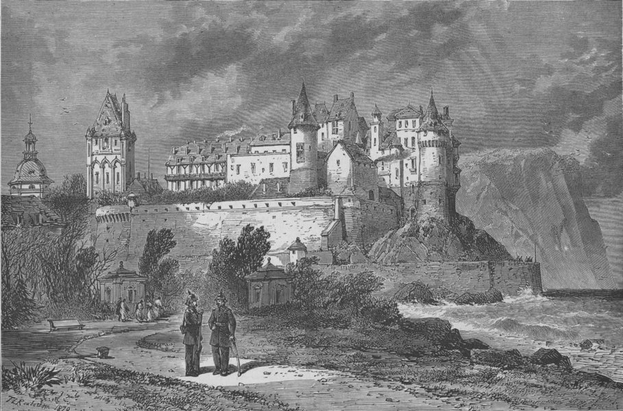 Associate Product FRANCE. The Chateau of Dieppe, antique print, 1871