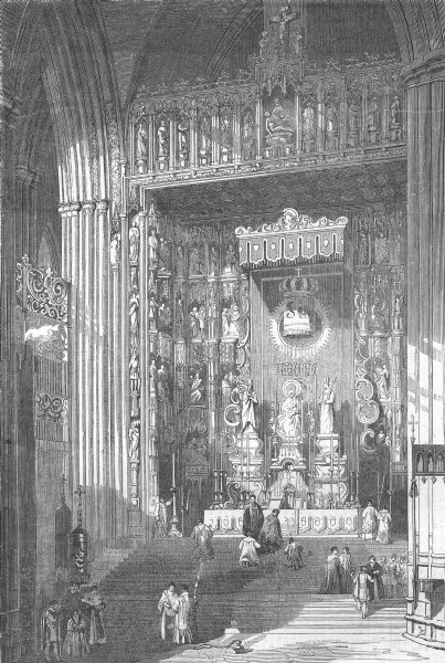Associate Product SPAIN. The Grand Altar of the Cathedral of Seville, antique print, 1857