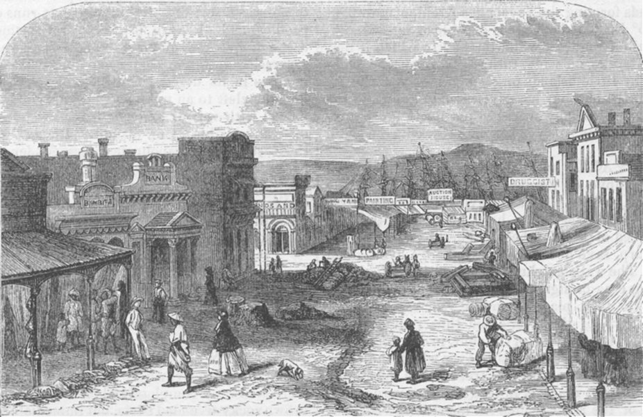 Associate Product CANADA. A Street in Victoria, British Columbia, antique print, c1878