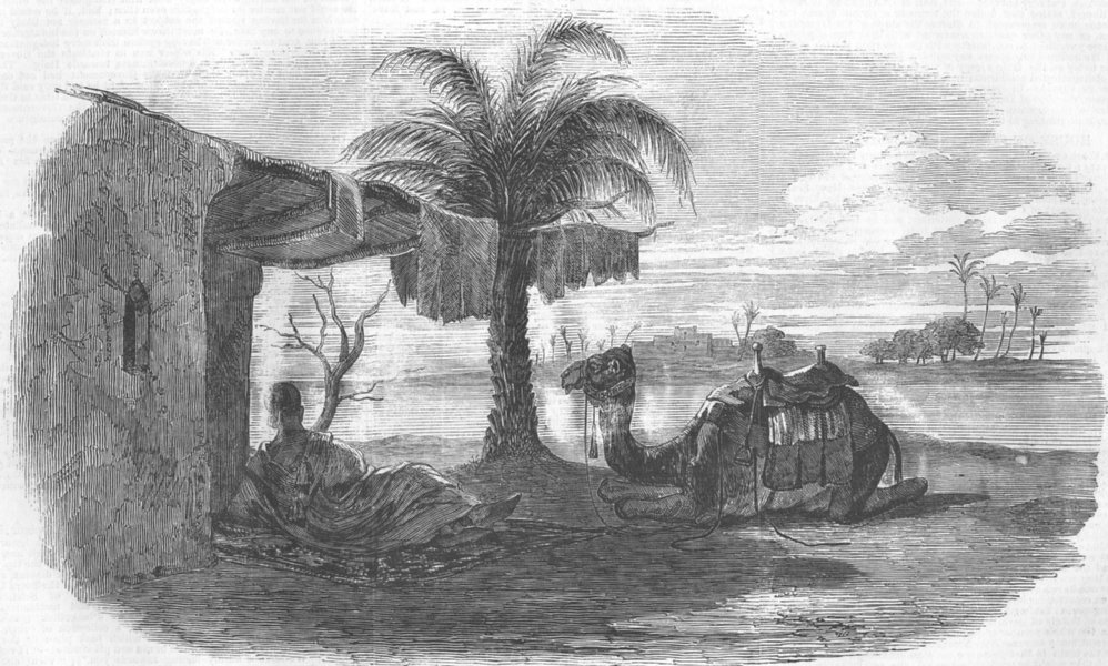 Associate Product EGYPT. Noonday Shelter, antique print, 1857