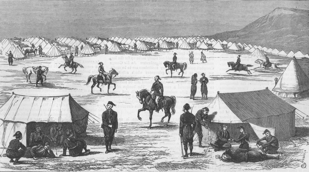 Associate Product TURKEY. A Cavalry Outpost, antique print, 1877