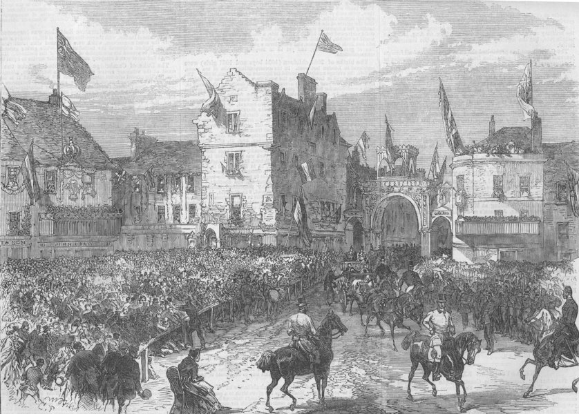 Associate Product SCOTLAND. Reception of queen, Market-Square, Jedburgh, antique print, 1867