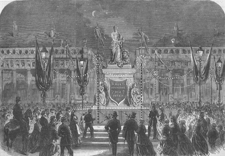Associate Product BELGIUM. TIR National-Place Des Martyrs, Brussels, antique print, 1867