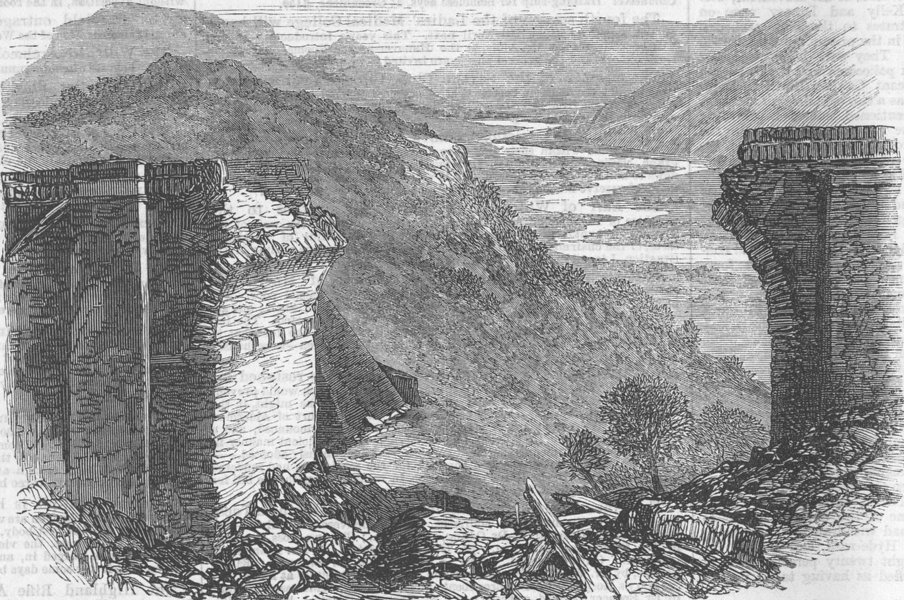 Associate Product INDIA. Broken viaduct on the Bhore Ghat incline, antique print, 1867