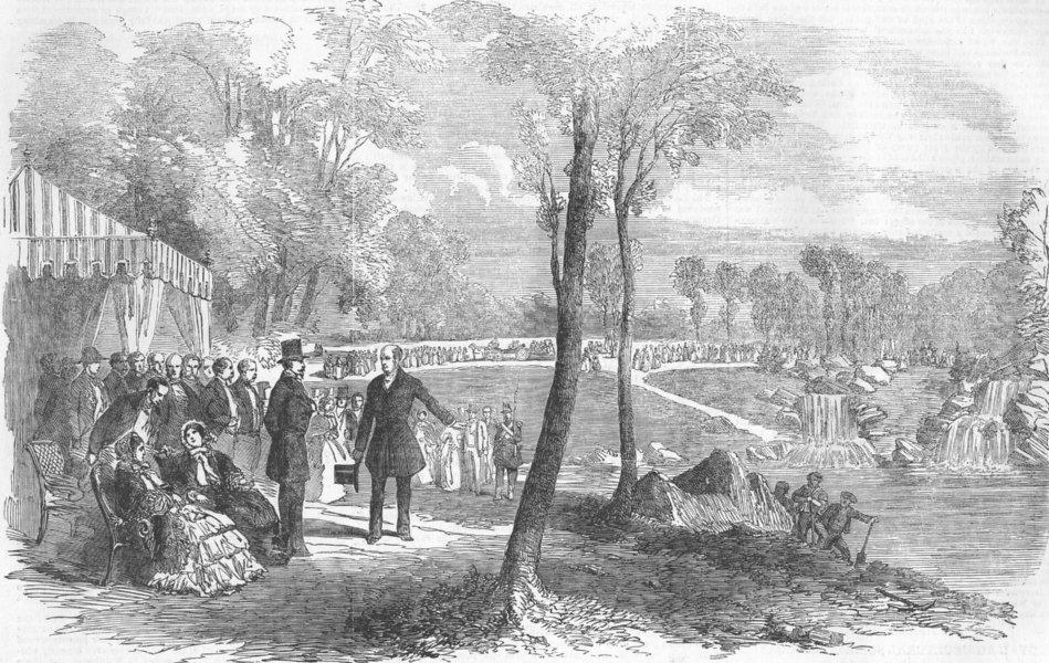 FRANCE. unveiling Of Cascades, Bois De Boulogne, antique print, 1854