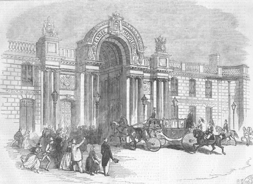 Associate Product FRANCE. Palace of the Elysee Restored, antique print, 1856