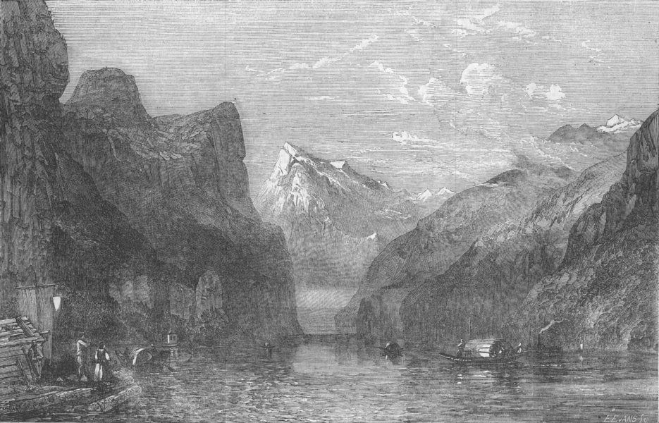 Associate Product SWITZERLAND. The Bay of Uri, Lake of Lucerne, antique print, 1854