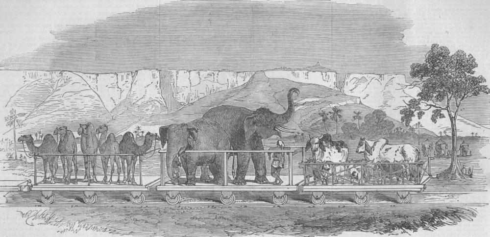 Associate Product INDIA. Train passing Fort Rhotas, antique print, 1851