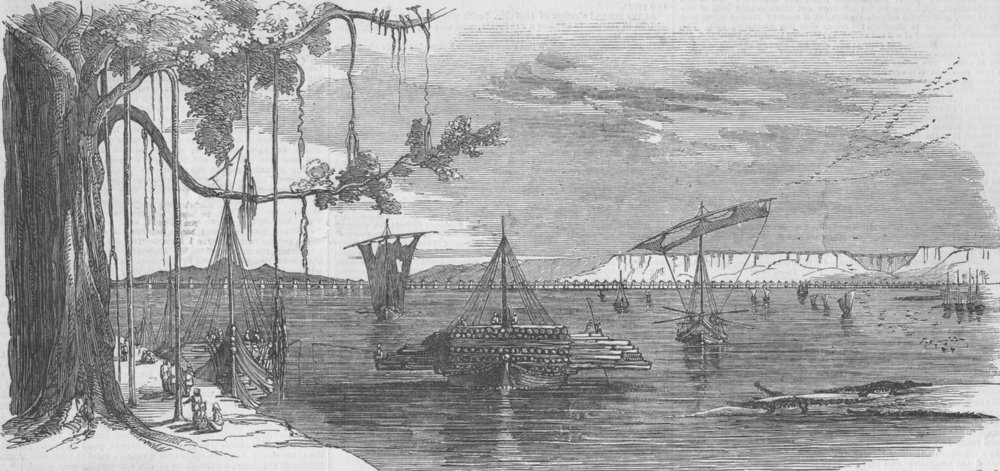 Associate Product INDIA. Rail. Intended Bridge over the Sone, antique print, 1851