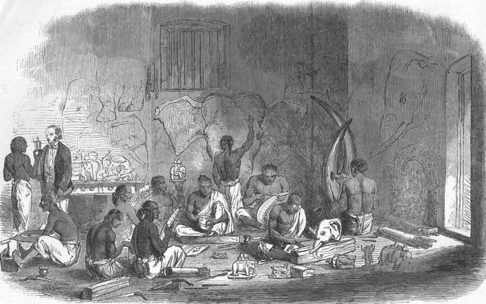 Associate Product INDIA. Ivory-Cutters at Berhampur, Bengal, antique print, 1851