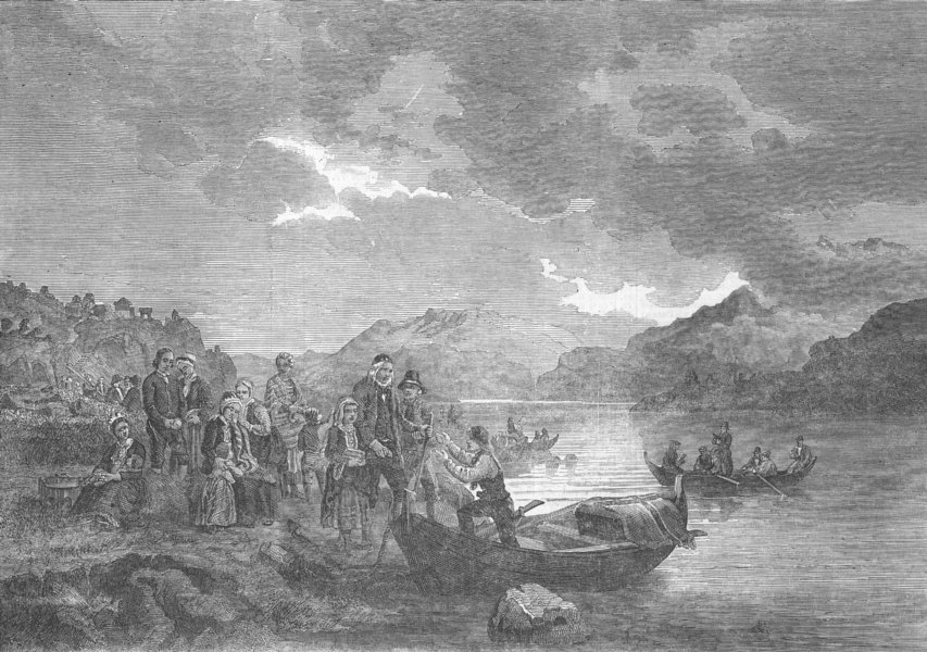 Associate Product NORWAY. A Peasant's funeral, at the Sogne fjord, antique print, 1853