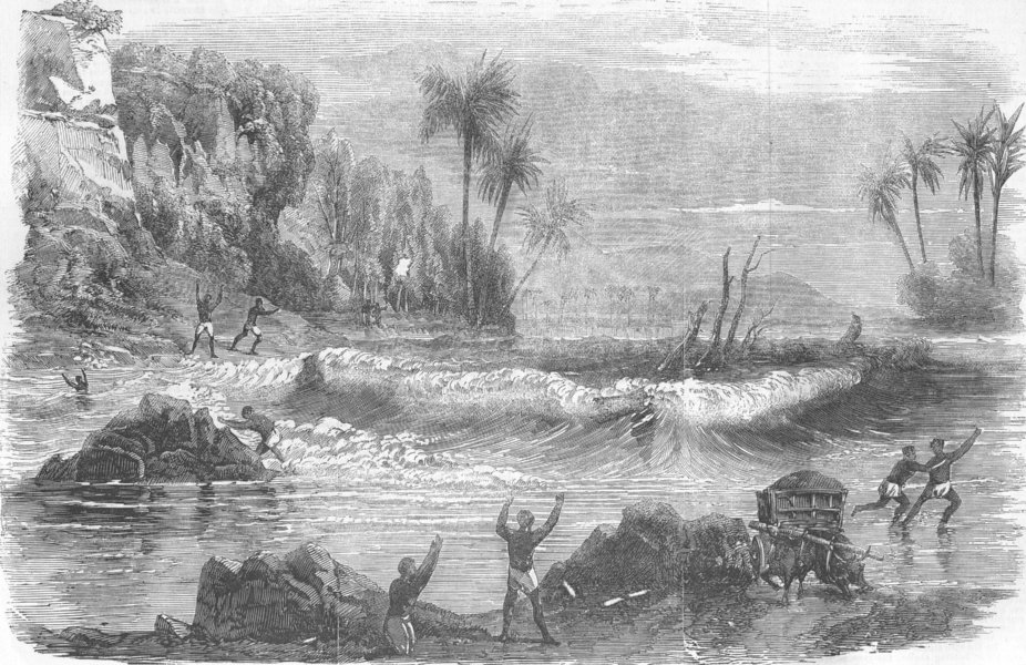 Associate Product INDIA. Travellers overtaken by the Inundation, antique print, 1856