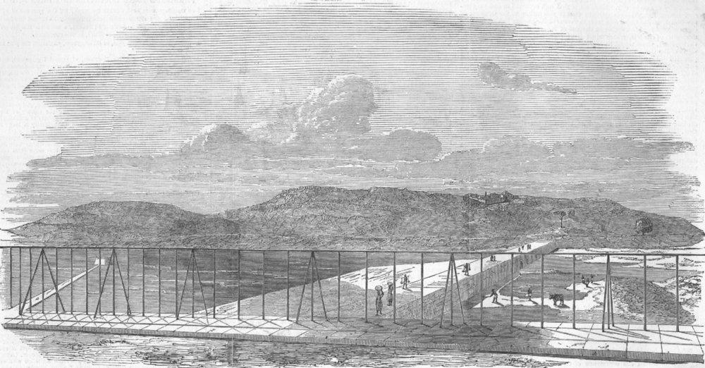 Associate Product INDIA. The Jamsetjee Bund, Pune, antique print, 1851