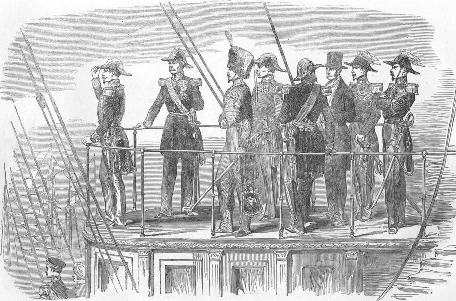 Associate Product SHIPS. The Emperor on La Reine Hortense Yacht, antique print, 1854