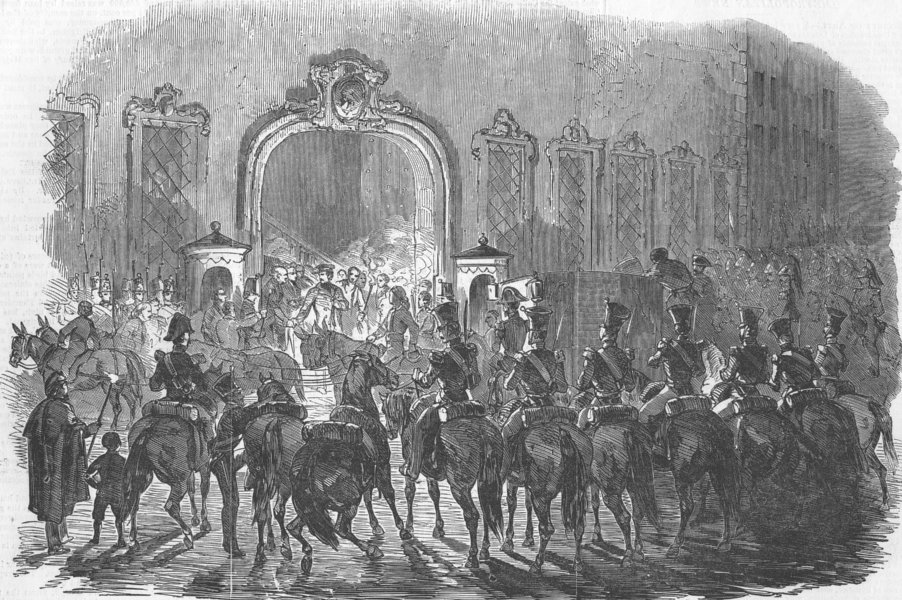 Associate Product SPAIN. Narvaez leaving Madrid, antique print, 1851