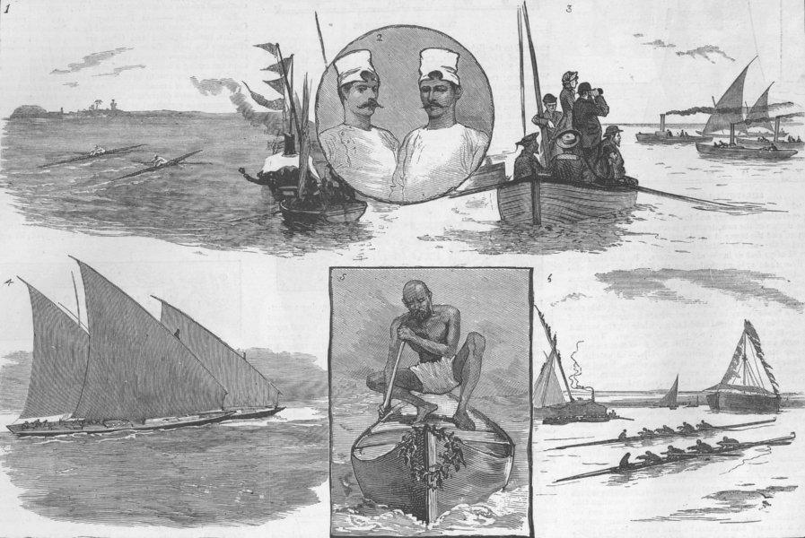 Associate Product INDIA. A Regatta at Mumbai, antique print, 1882
