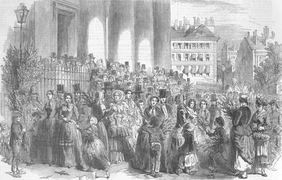 Associate Product FRANCE. Palm Sunday in Paris, antique print, 1852