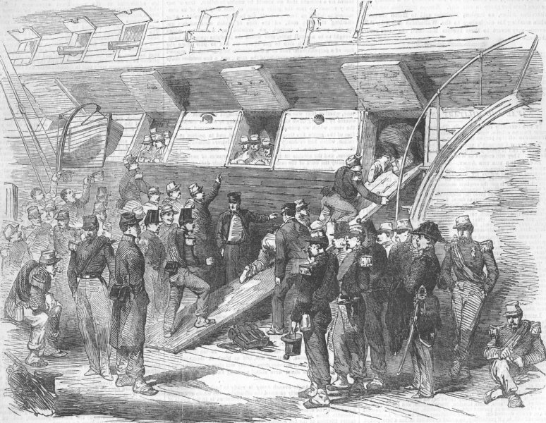 Associate Product FRANCE. troops boarding English Ship, at Calais, antique print, 1854