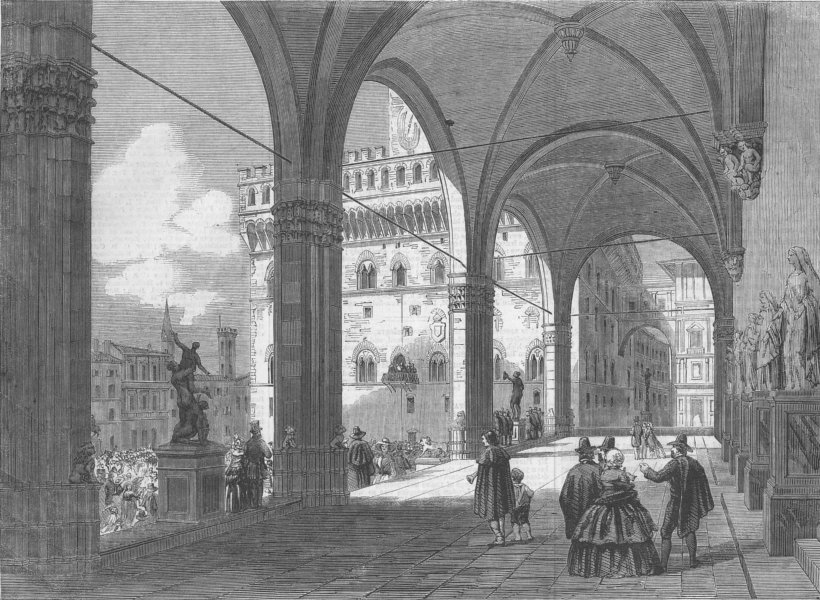 Associate Product ITALY. The Piazza del Popolo, Florence, antique print, 1860