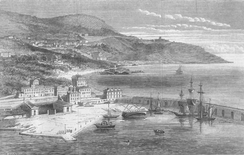 Associate Product FRANCE. The Port of Nice, antique print, 1860