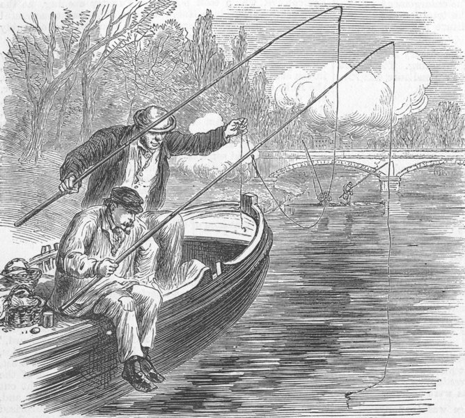 Associate Product FRANCE. Fishing in troubled waters, Pont de Neuilly, antique print, 1871