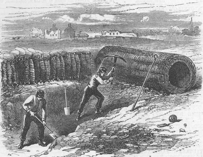 Associate Product KENT. Chatham. Sappers Working Behind Sap Roller, antique print, 1871