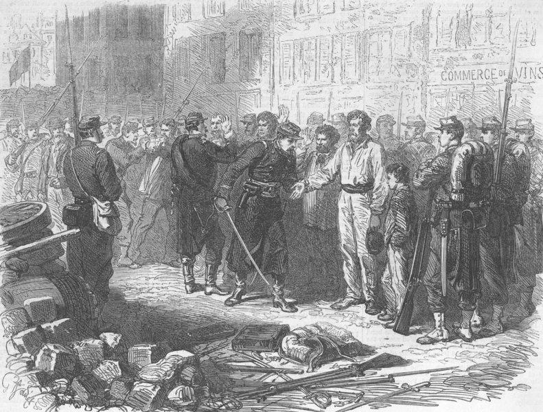 Associate Product PARIS COMMUNE. Checking for Gunpowder, Belleville, antique print, 1871