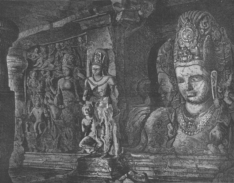 Associate Product INDIA. Elephanta Caves. Caves of Elephanta, nr Mumbai, antique print, 1875