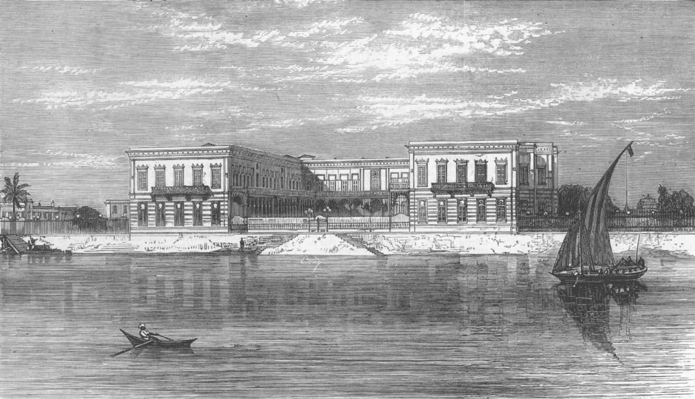 Associate Product EGYPT. Prince of Wales at Palace of Ghezireh, Cairo, antique print, 1875