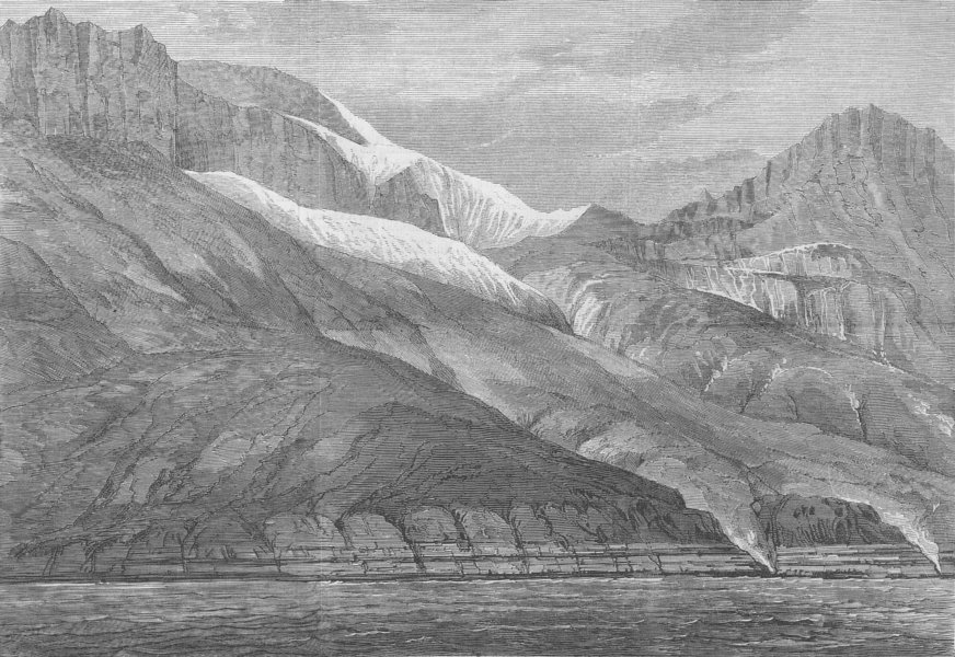 Associate Product GREENLAND. The Ritenbenk Coal Cliffs, antique print, 1875