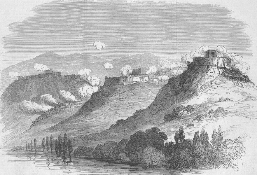 Associate Product SPAIN. Sierra del Cuervo, Torre Solsona, Seo D'urgel, antique print, 1875
