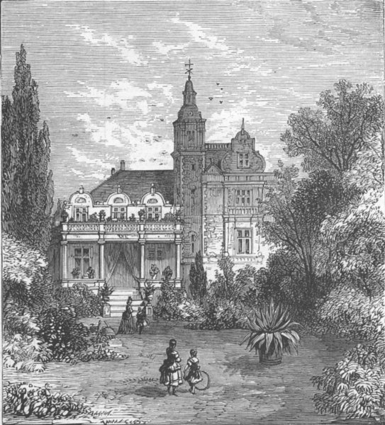 Associate Product DENMARK. Villa Rolighed, Hans Christian Andersen, antique print, 1875