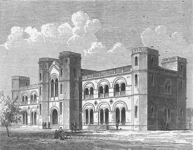 INDIA. Alfred High School, Kattywar, Western India, antique print, 1875