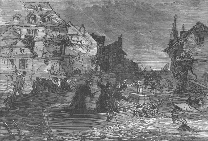 Associate Product FRANCE. The Floods in France, antique print, 1875