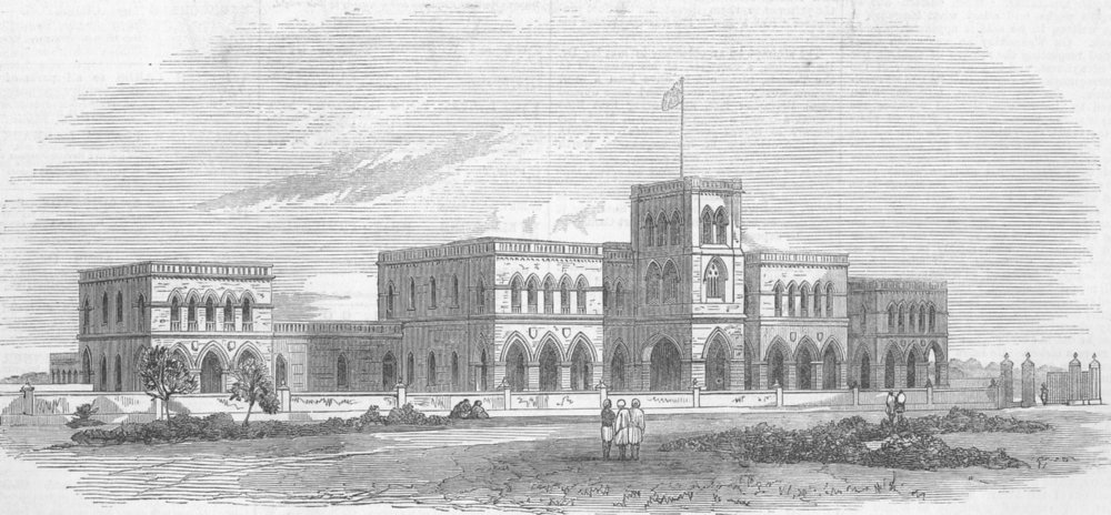 Associate Product INDIA. Rajkoomar College, Kattywar, Western India, antique print, 1871