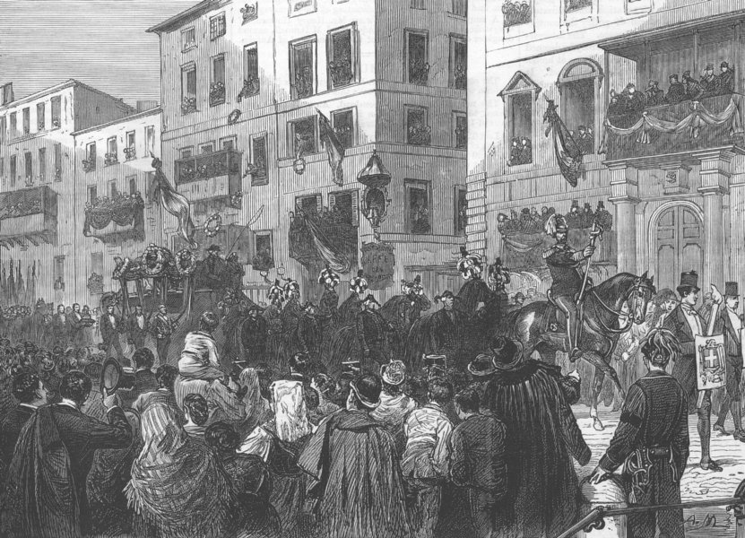 Associate Product ITALY. The Procession on its way to the Pantheon, antique print, 1878