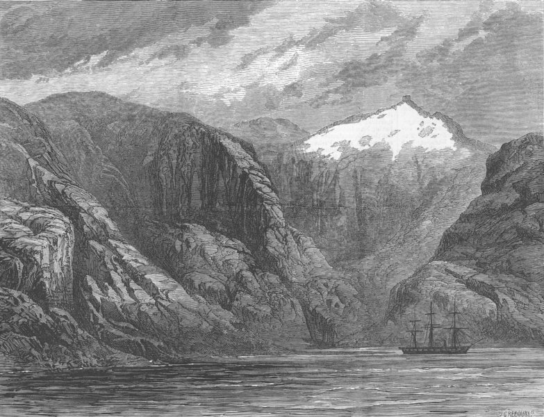 Associate Product CHILE. Challenger, Desolation Island, Magellan Strait, antique print, 1876