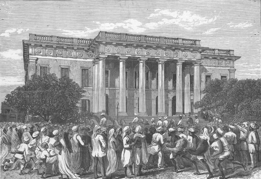 Associate Product INDIA. The Town Hall, Kolkata, antique print, 1876
