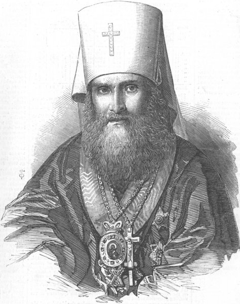 Associate Product RUSSIA. Philarete, Archbishop of Moscow, antique print, 1856