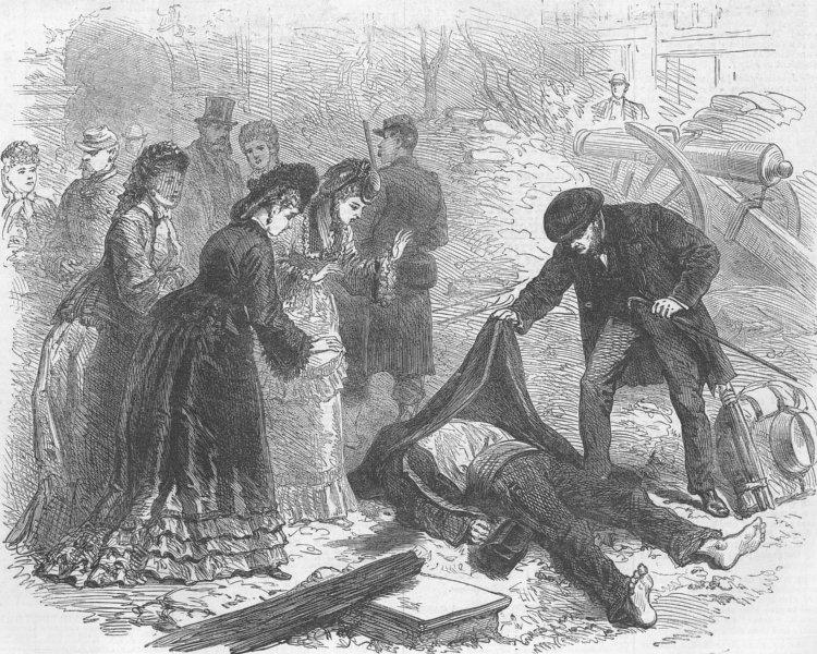 Associate Product FRANCE. Paris Commune. A street incident in Paris, antique print, 1871
