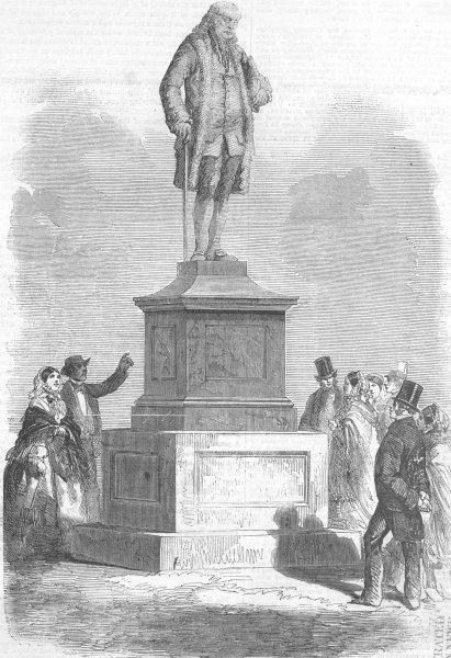 Associate Product MASSACHUSETTS. Benjamin Franklin statue, Boston, antique print, 1856