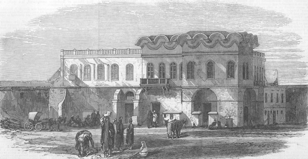 Associate Product EGYPT. Alexandria Palace, used by British Troops, antique print, 1867