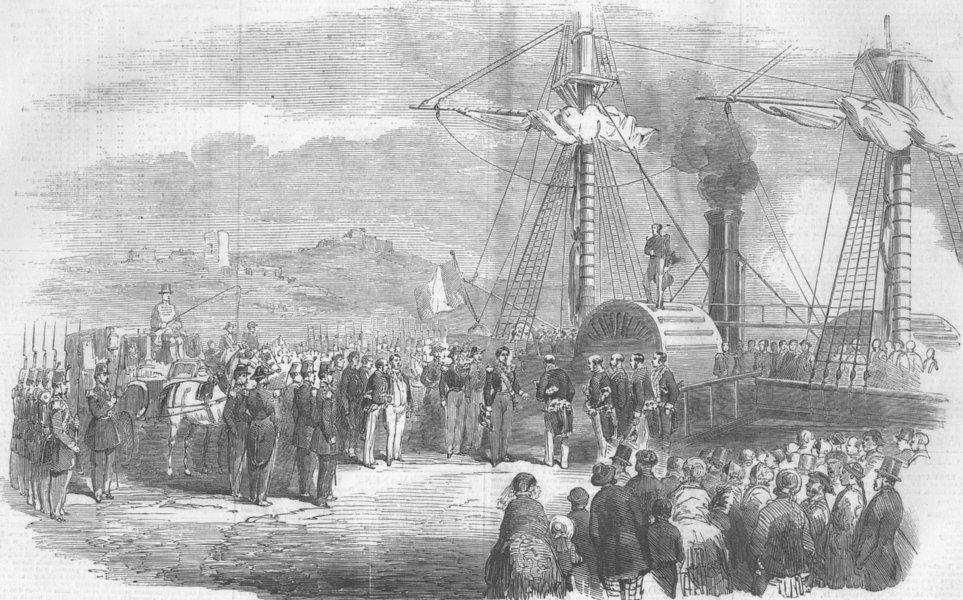 FRANCE. boarding of Marshal St Arnaud, Marseilles, antique print, 1854
