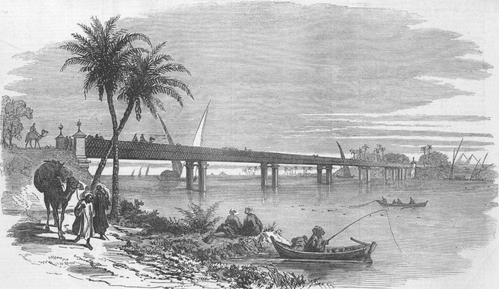 Associate Product EGYPT. New Bridge Across the Nile, near Cairo, antique print, 1873