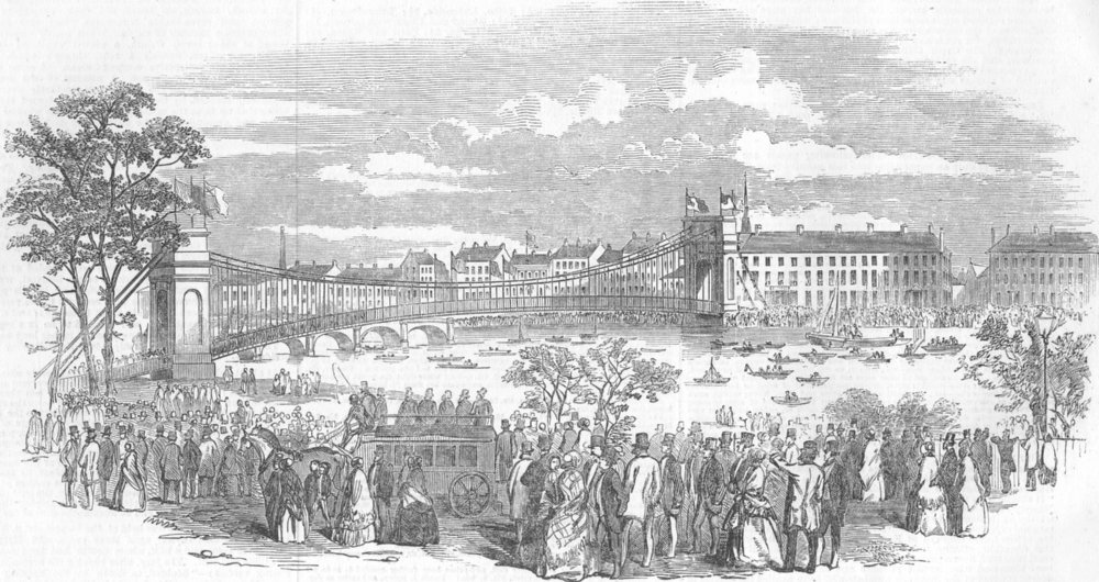 Associate Product SCOTLAND. new Portland St suspension bridge, Glasgow, antique print, 1853