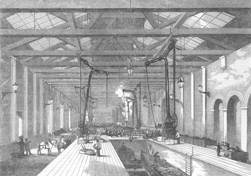 Associate Product LONDON. The Goods Shed, antique print, 1853