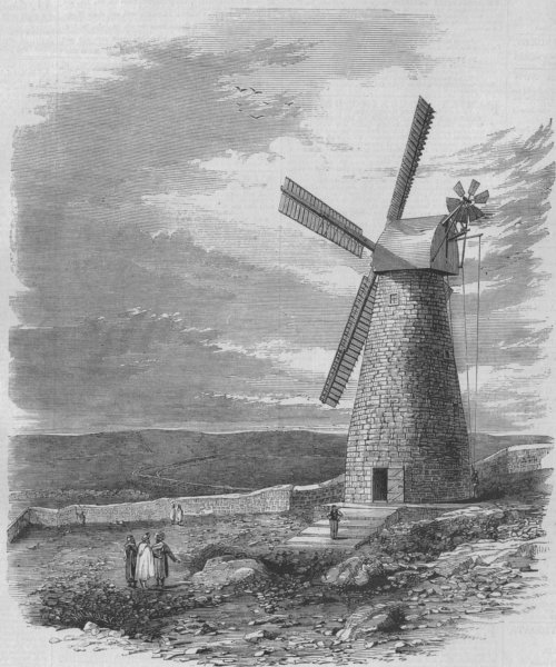 Associate Product ISRAEL. The first windmill in Jerusalem, antique print, 1858