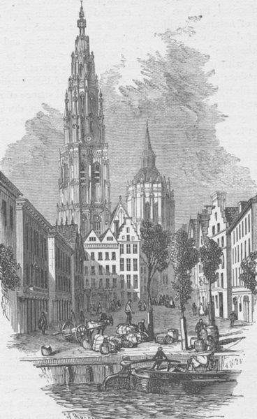 Associate Product BELGIUM. Antwerp, antique print, c1870