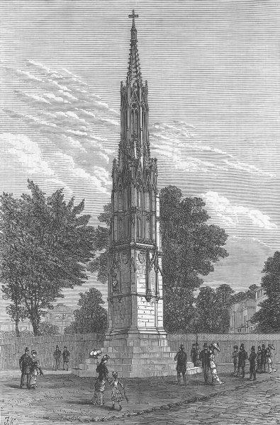 Associate Product LEICS. Memorial, Countess Loudoun, Ashby-De-La-Zouch, antique print, 1879