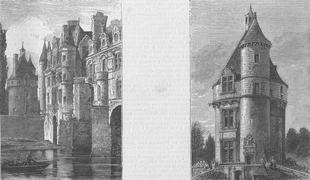 Associate Product FRANCE. The Chateau of Chenonceaux, antique print, 1871